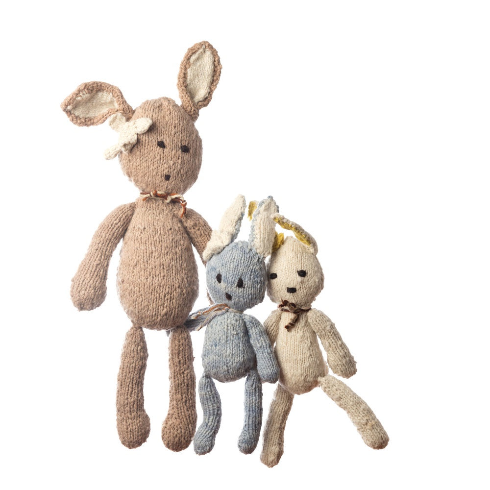 Wool Ditsy Toy Rabbit - Blue - Small