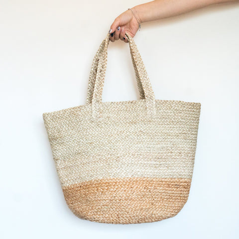 Two Tone Basket Jute Tote
