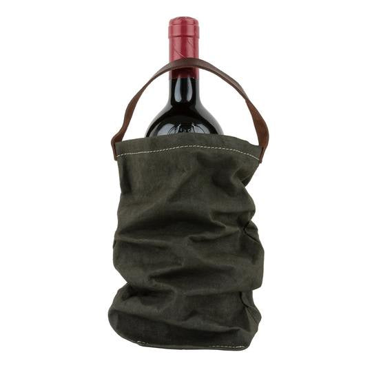 Paper Wine Bag with Handle - Dark Green