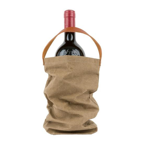 Paper Wine Bag with Handle - Olive