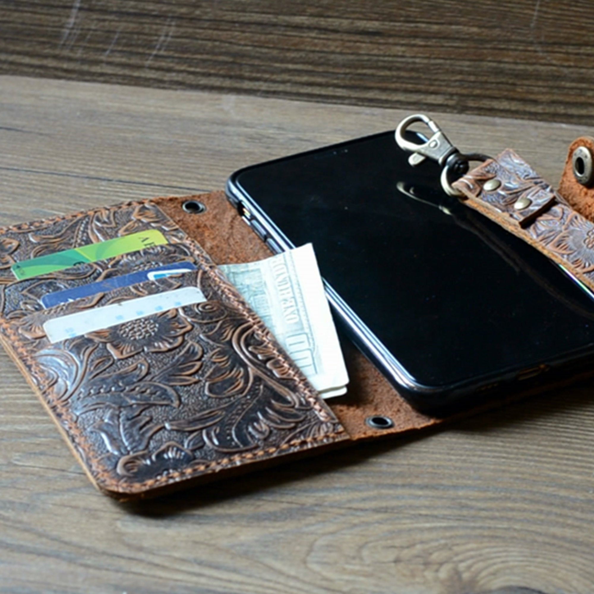 JJNUSA Genuine Leather Distressed Wallet for Iphone 11 Wallet Case Brown