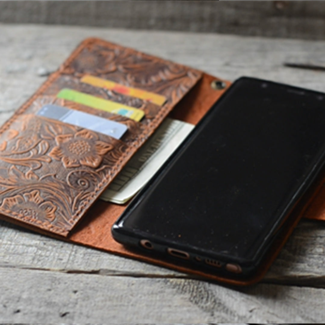 Genuine leather Retro Wallet for Iphone XS Max 6.5 inches Wallet Case Brown