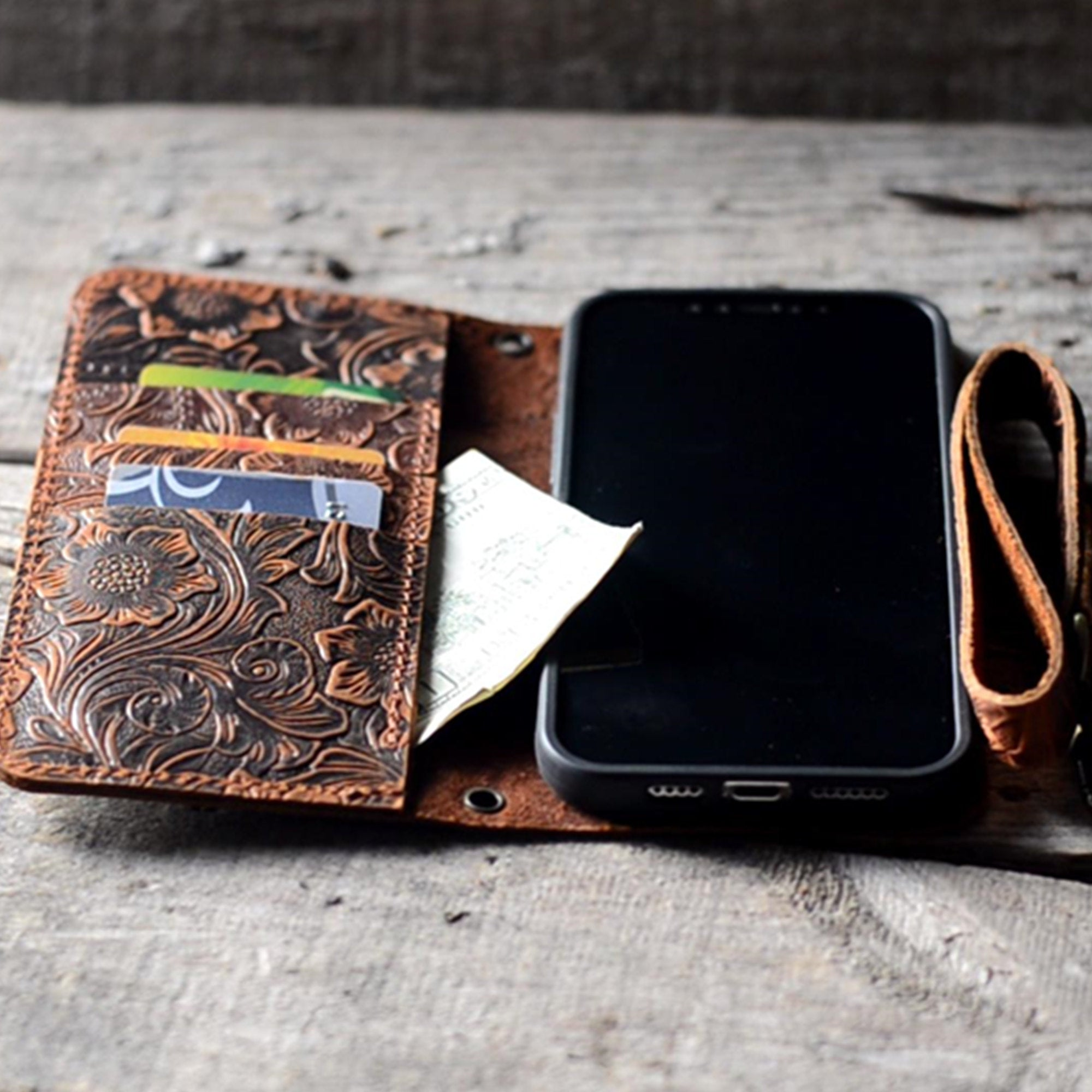 JJNUSA Genuine leather Vintage Wallet for Iphone 12 pro max / 12 Mini / 12 pro