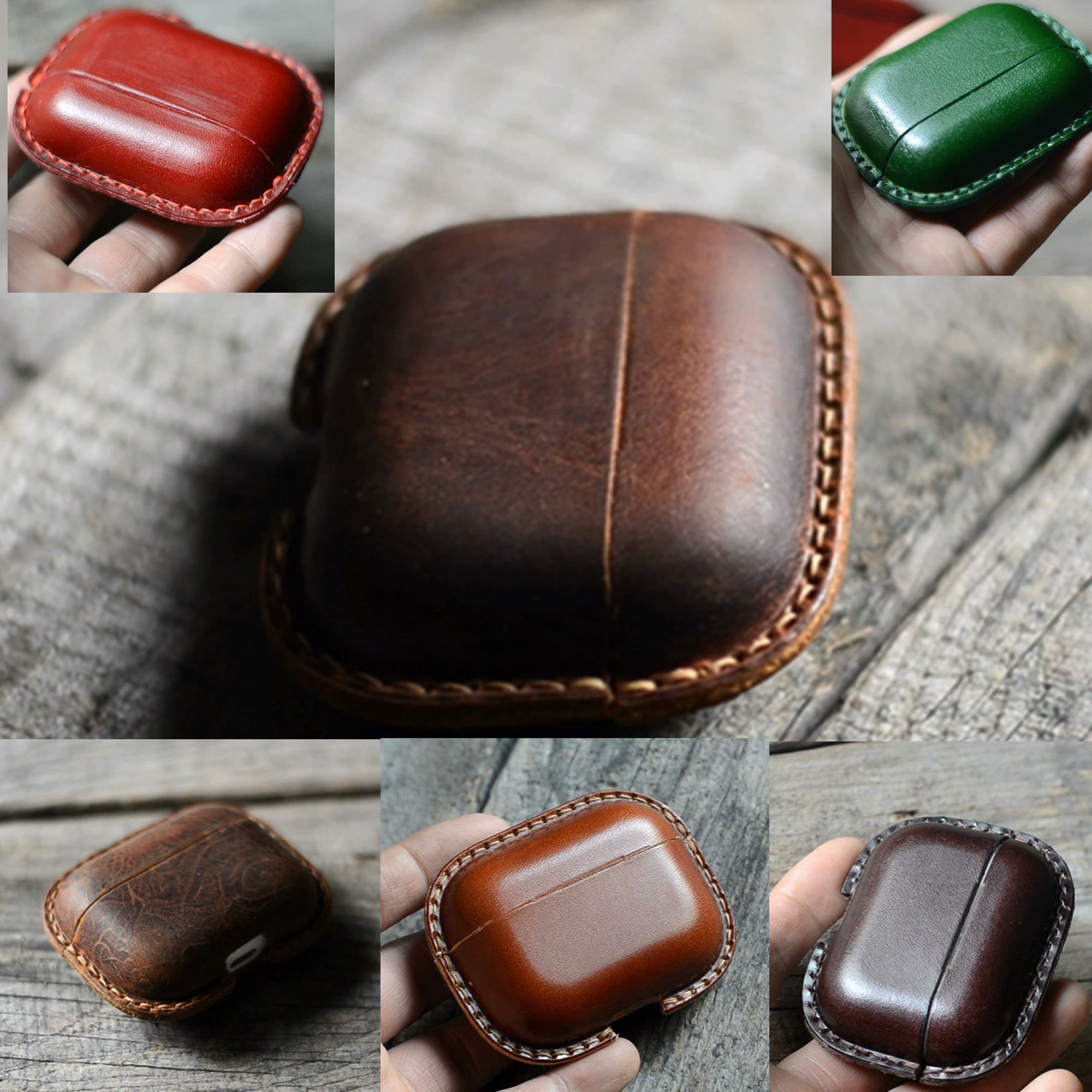 JJNUSA Best Sale Genuine Leather Distressed  Leather for AirPods Pro  Full Leather Case