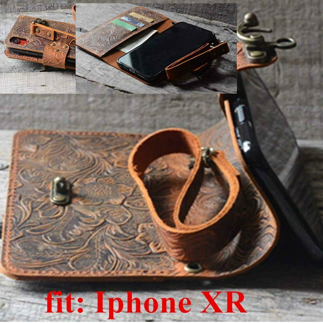 JJNUSA Handmade Genuine leather Vintage Book Style Wallet for Iphone XR 6.1 inches