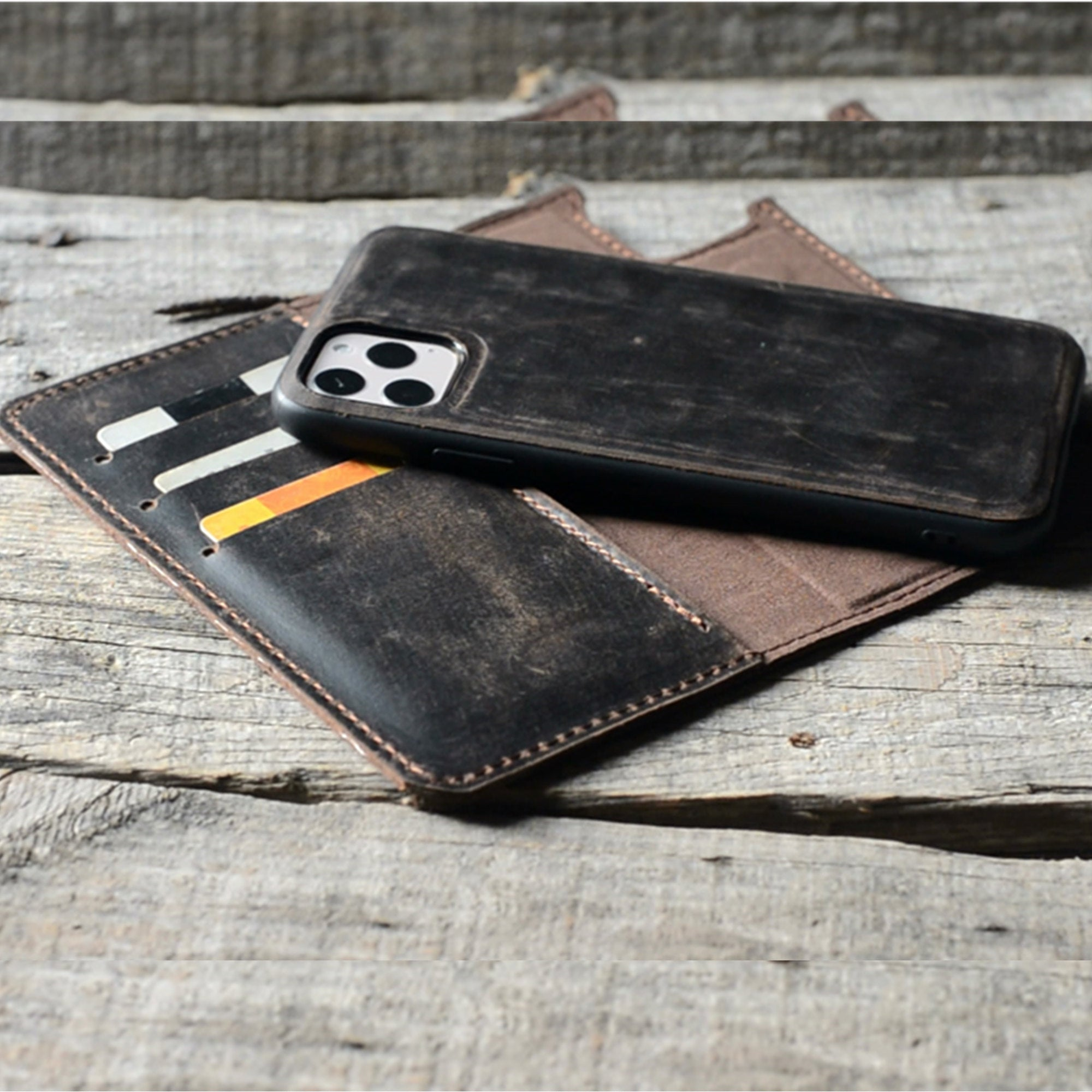 JJNUSA RFID Genuine Leather Distressed Wallet for Iphone 11 Magnetic Detachable Case Dark Brown