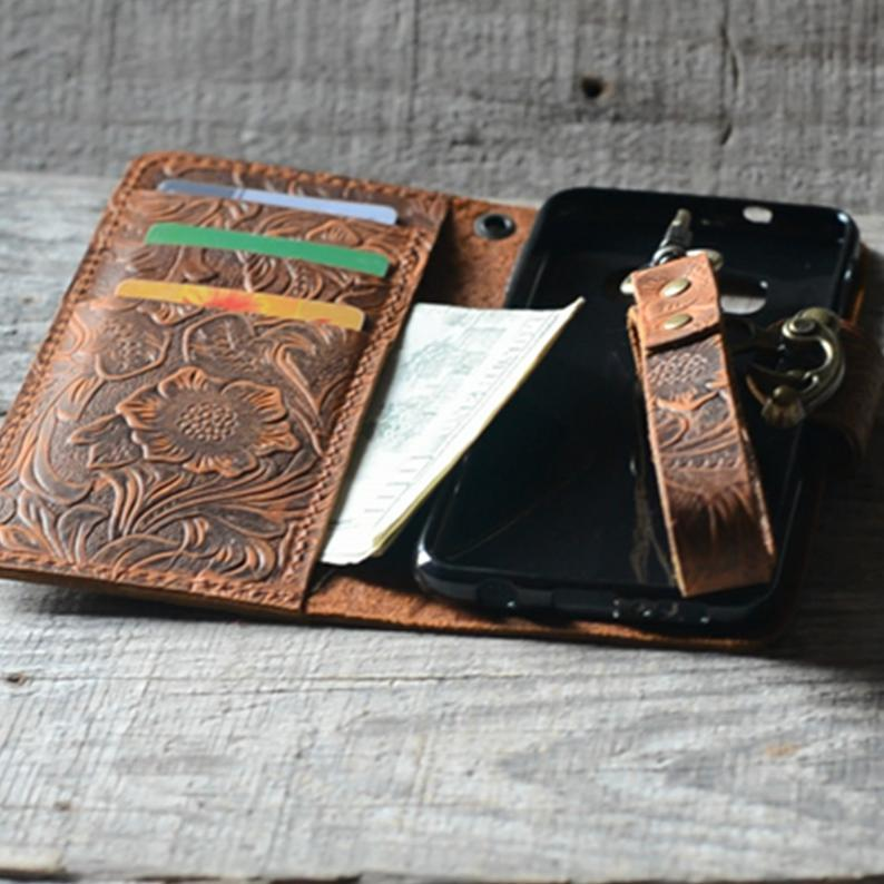JJNUSA Handmade Genuine leather Vintage Book Style Wallet for Iphone 11 6.1 inches