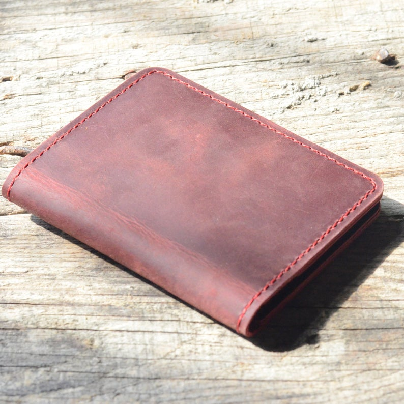 JJNUSA Bifold Wallet, Men's Minimalist Card Holder Distressed Leather Wallet | Red
