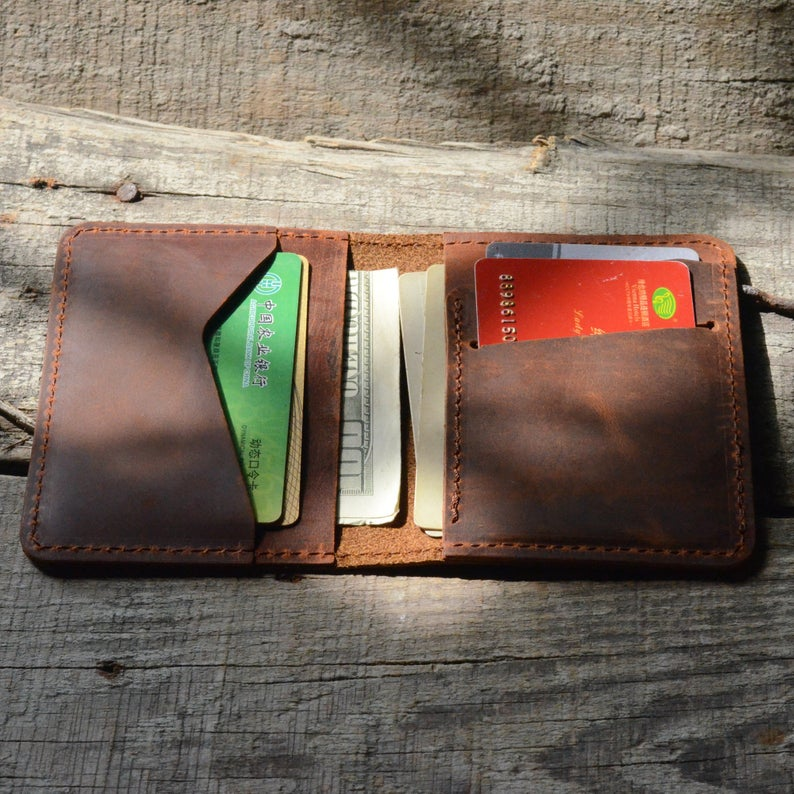 JJNUSA Bifold Wallet Men's Minimalist Card Holder Distressed Leather Wallet | brown