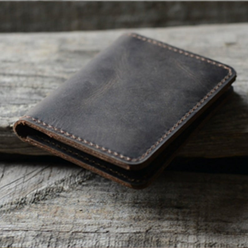 JJNUSA  Minimalist Bifold Wallet Men's Card Holder Distressed Leather Wallet | darkbrown