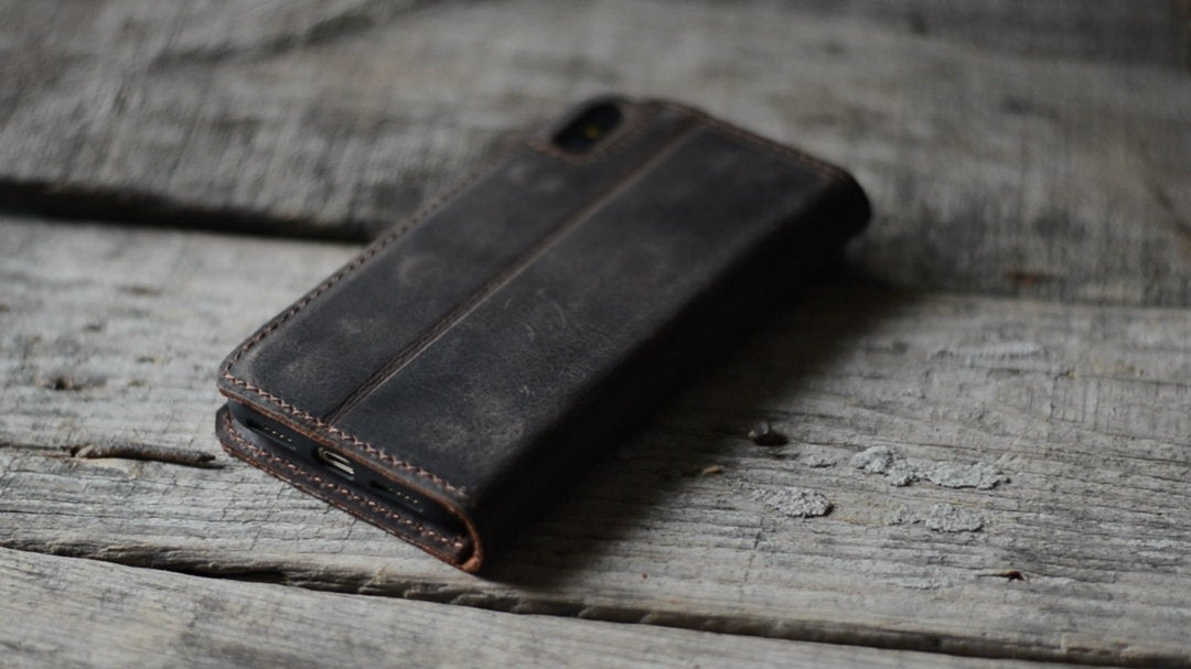 RFID Distressed Leather iPhone XS MAX  Wallet  Leather iPhone 8 / 7 plus Case  Wallet  Magnetic  Case, Minimalist  iphone   xs / xr Wallet