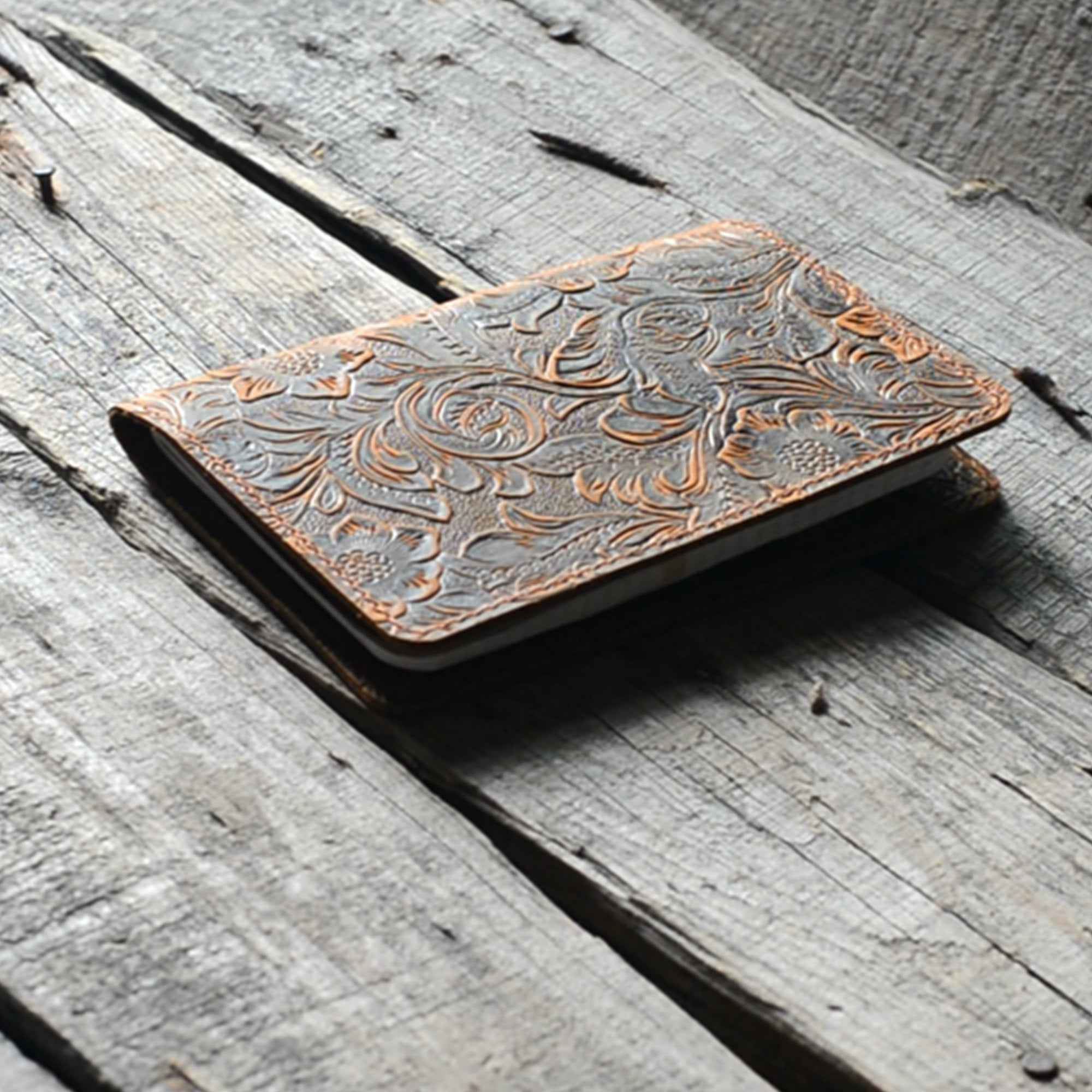 Distressed Genuine Leather Travel Journal Field Notes Cover  for 3.5 x 5.5 Notebook Moleskine Cahier Flower brown