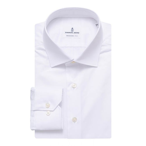 Emanuel Berg White Twill Modern Fit Dress Shirt