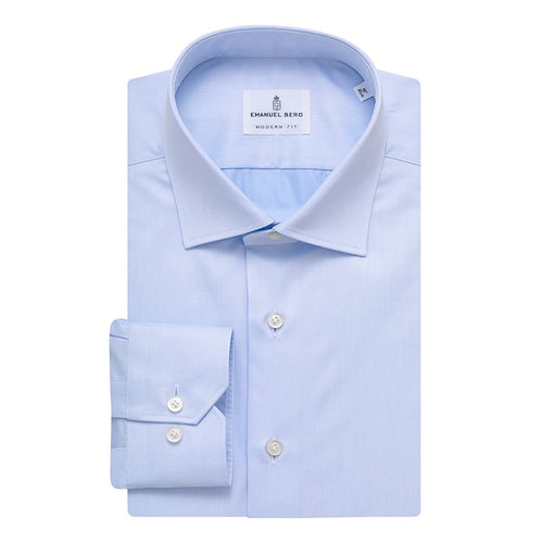 Emanuel Berg Blue Twill Modern Fit Dress Shirt