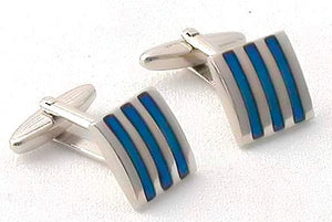 Vertical Blue Striped Cufflinks