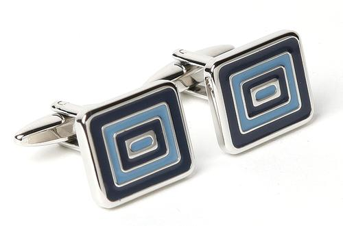 Rectangle with Navy & Marine Blue Enamel Cufflinks