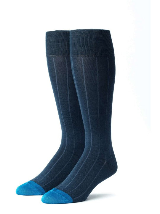 Edward Armah Blue Steel/Medium Blue Ribbed Socks