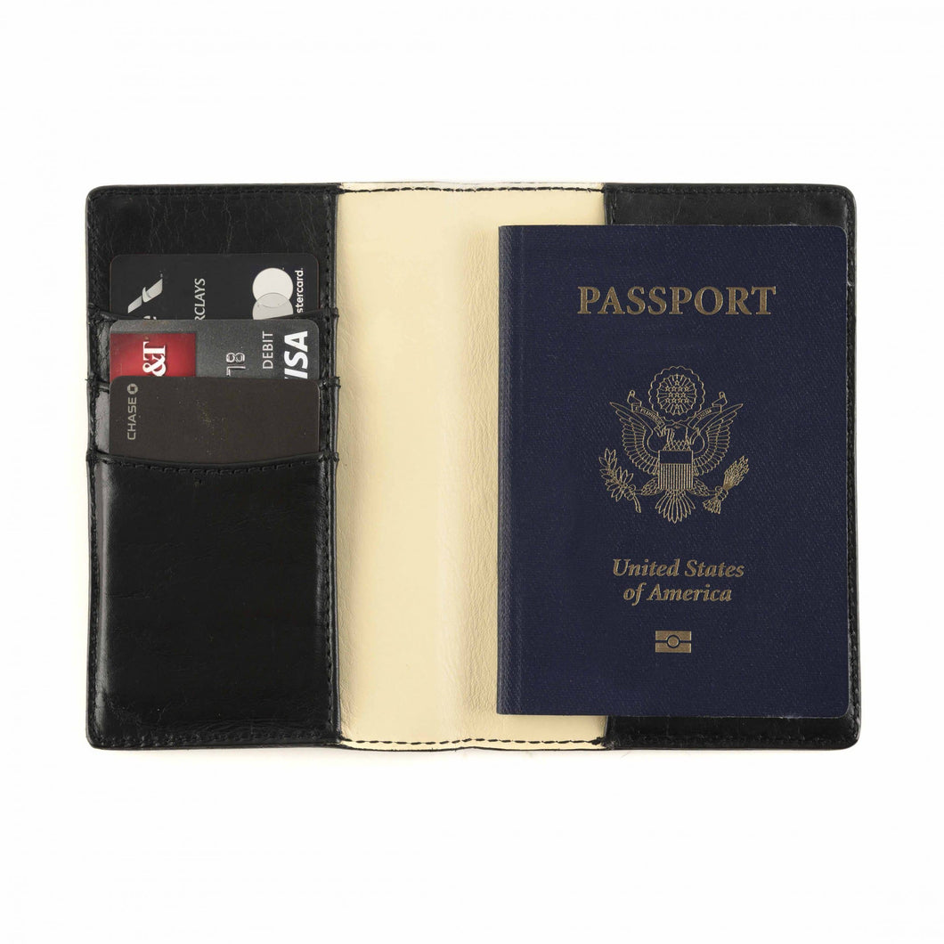 Moore & Giles Passport Wallet in Brompton Black