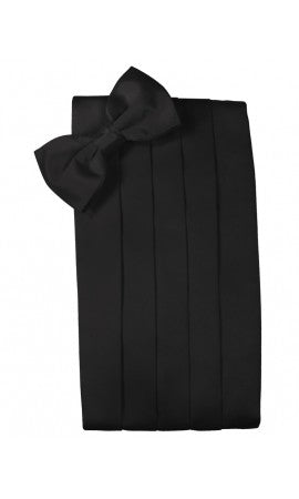 Black Satin Cummerbund and Pre-Tied Bow