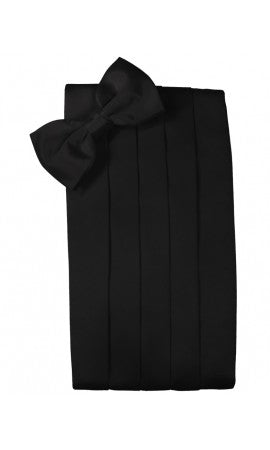 Black Silk Cummerbund Set with Tie your Own Bow