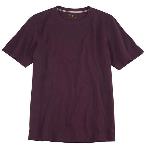 Left Coast Tee Aubergine Solid Crew Neck Tee Shirt