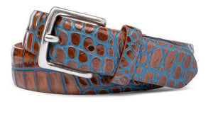 W. Kleinberg Two-Tone Embossed Croc Ocean Belt