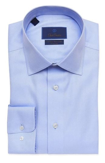 David Donahue Blue Trim Fit Non-Iron Dress Shirt