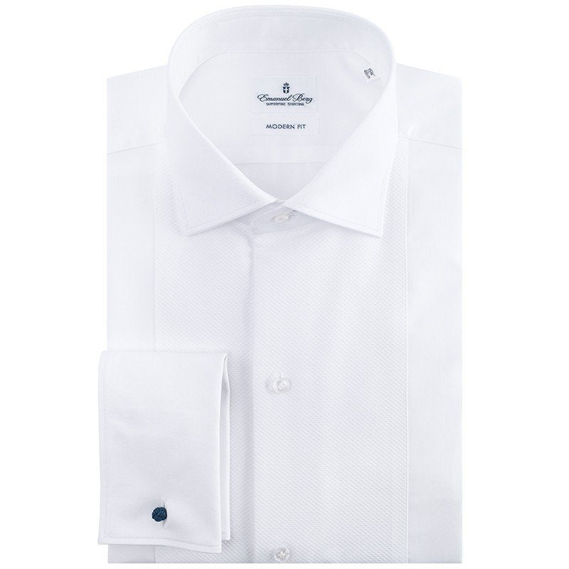 Emanuel Berg White Twill Modern Fit Formal Shirt