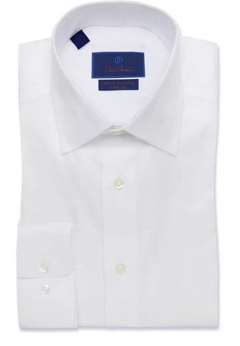 David Donahue White Trim Fit Non-Iron Dress Shirt