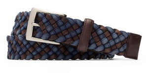 W. Kleinberg Crocodile Tabs Indigo & Chocolate Cloth Braid Belt