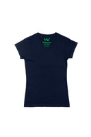 Lapel logo Ladies Organic Cotton Navy T-shirt