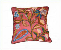 Crewel Embroidered Cushion Cover