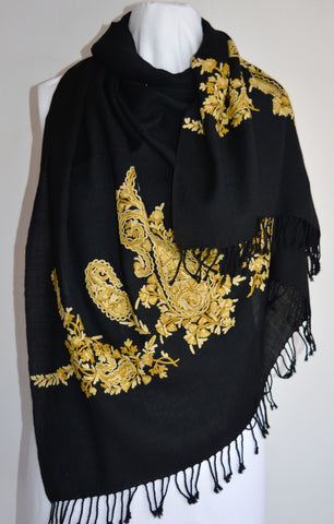 Gold & Black Wool Embroidered Shawl