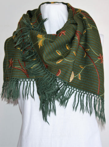 Green Floral Embroidered Shawl