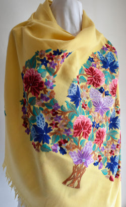 Yellow Floral Embroidered Shawl