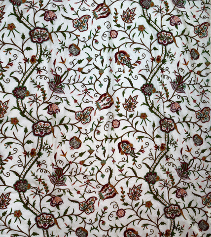 Crewel Embroidered Bed Cover