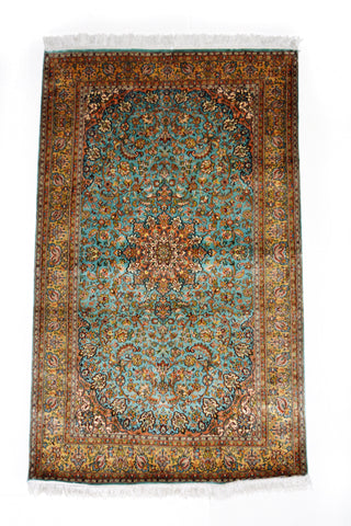Silk-on-Silk  Kashan Blue Light Carpet