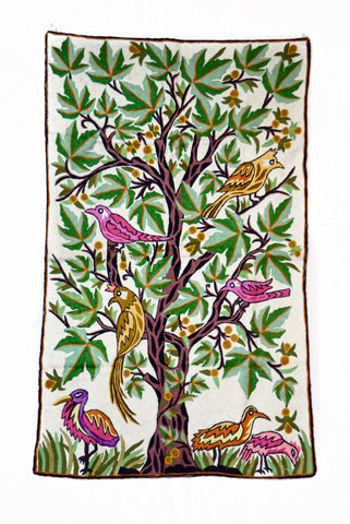 Birds on Chinar Chainstitch Tapestry 2