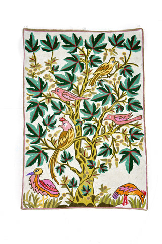 Birds on Chinar Chainstitch Tapestry