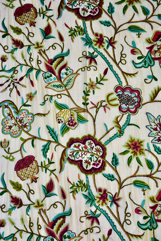 Hand Embroidered Crewel Fabric