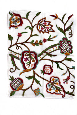Crewel Embroidered Pillow Case