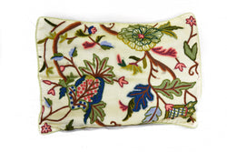 Crewel Embroidered Pillow Cover