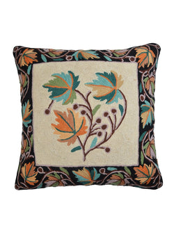 Blue Leaf Kashmiri Embroidery Cushion Cover