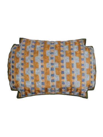 KGA Dark Green Geometric Chainstitch  Pillow Cover