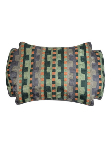 KGA Green Geometric Chainstitch Pillow Cover