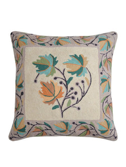 Leaf Kashmiri Embroidery Cushion Cover
