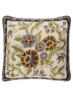 Purple Floral Chainstitch Cushion Cover