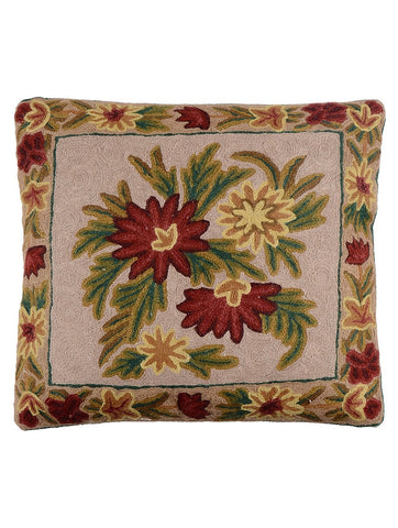 Floral Chainstitch Cushion Cover 1