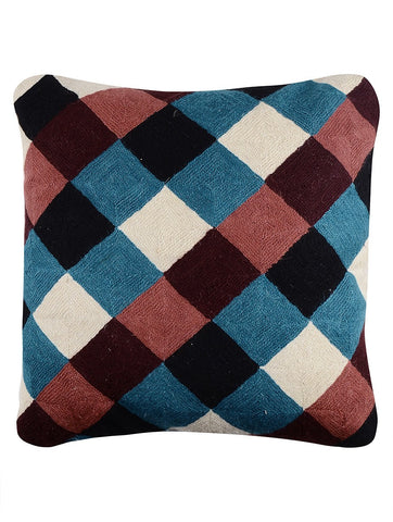 Checkered Chainstitch Cushion Cover