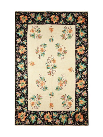 Black Leaf Chainstitch Rug (6ft x 4ft)